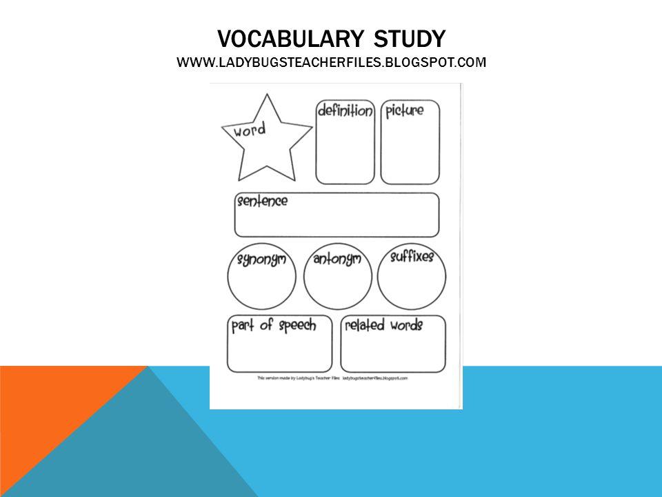 VOCABULARY STUDY WWW.LADYBUGSTEACHERFILES.BLOGSPOT.COM