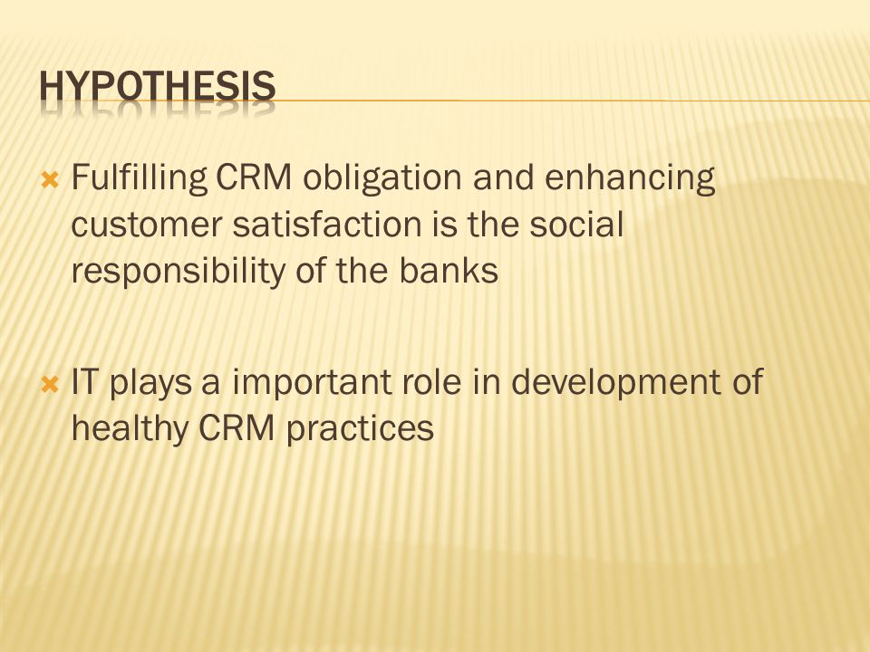 Fulfilling CRM obligation and enhancing customer satisfaction is the social responsibility of the banks IT plays a important role in development of healthy CRM practices