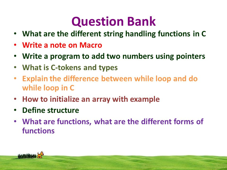 question bank Question bank is a library containing hundreds of questions you can add to your survey in seconds these questions are written and certified by.