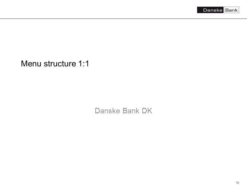 10 Menu structure 1:1 Danske Bank DK