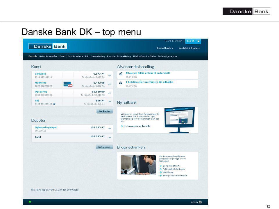 12 Danske Bank DK – top menu