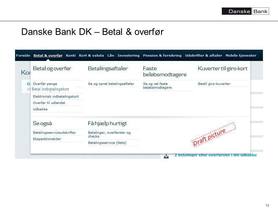 13 Danske Bank DK – Betal & overfør Betal indbetalingskort Draft picture