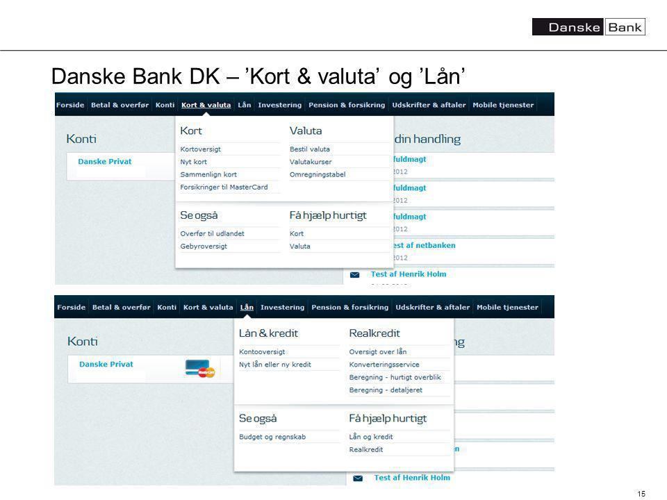 15 Danske Bank DK – Kort & valuta og Lån