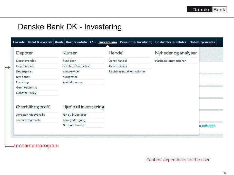16 Danske Bank DK - Investering Content dependents on the user Incitamentprogram