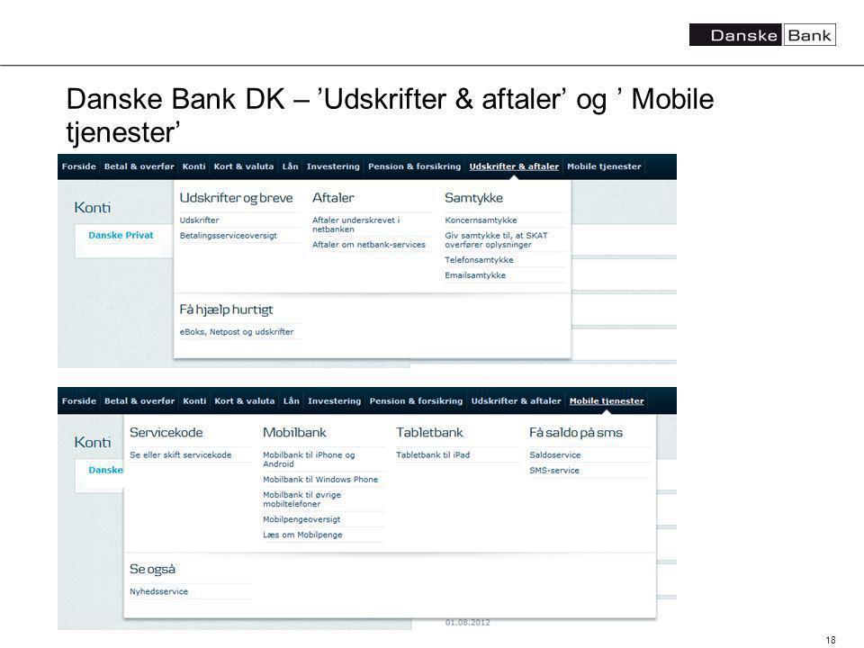 18 Danske Bank DK – Udskrifter & aftaler og Mobile tjenester