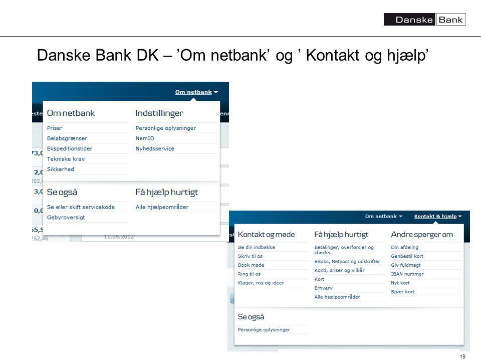 19 Danske Bank DK – Om netbank og Kontakt og hjælp