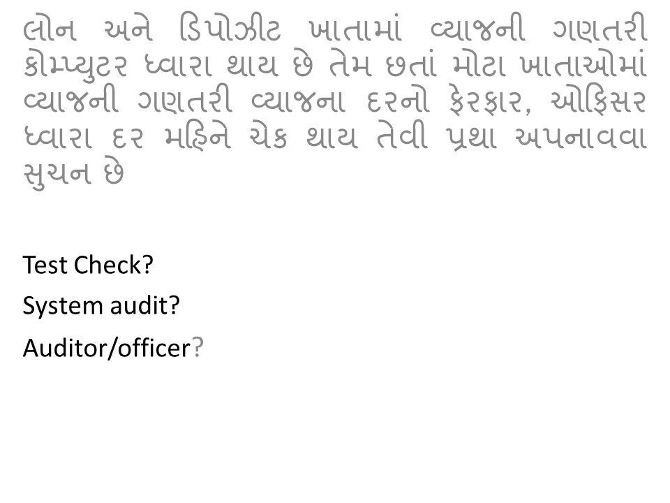 , Test Check? System audit? Auditor/officer ?