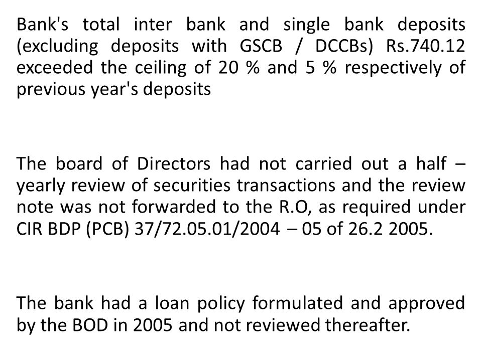 Bank's total inter bank and single bank deposits (excluding deposits with GSCB / DCCBs) Rs.740.12 exceeded the ceiling of 20 % and 5 % respectively of