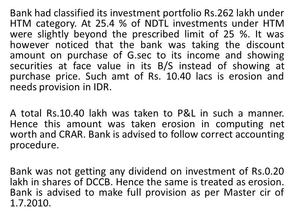 Bank had classified its investment portfolio Rs.262 lakh under HTM category. At 25.4 % of NDTL investments under HTM were slightly beyond the prescrib
