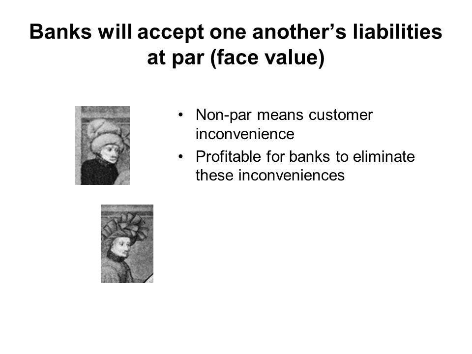 Banks will accept one anothers liabilities at par (face value) Non-par means customer inconvenience Profitable for banks to eliminate these inconveniences