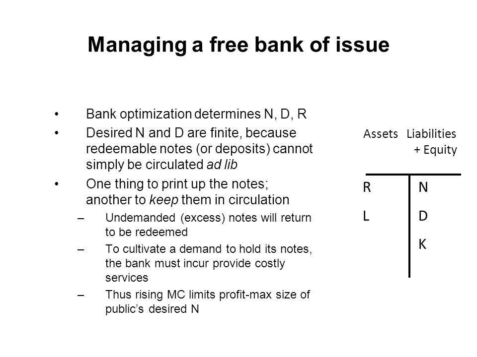 Managing a free bank of issue Bank optimization determines N, D, R Desired N and D are finite, because redeemable notes (or deposits) cannot simply be circulated ad lib One thing to print up the notes; another to keep them in circulation –Undemanded (excess) notes will return to be redeemed –To cultivate a demand to hold its notes, the bank must incur provide costly services –Thus rising MC limits profit-max size of publics desired N Assets Liabilities + Equity RLRL NDKNDK