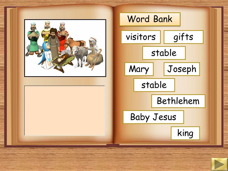 Word Bank shepherds hillside angels walked Baby Jesus message