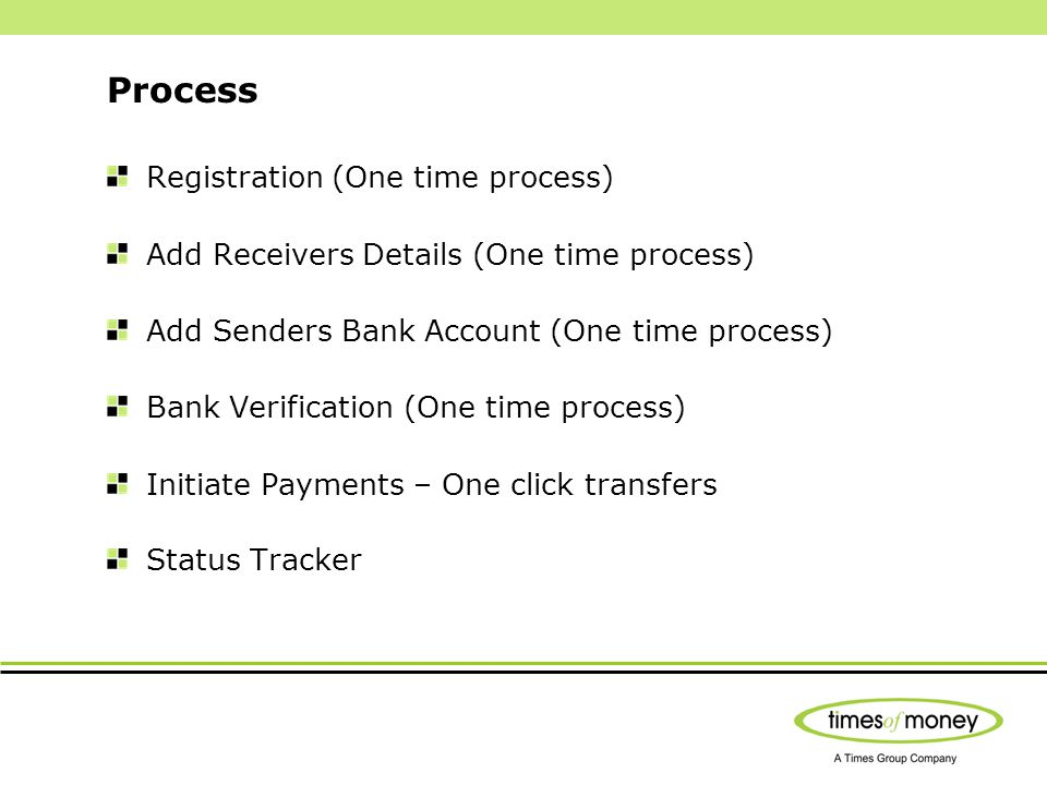 Process Registration (One time process) Add Receivers Details (One time process) Add Senders Bank Account (One time process) Bank Verification (One ti