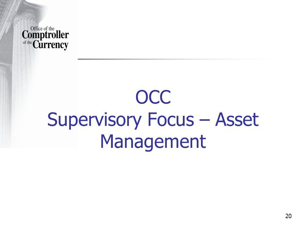 20 OCC Supervisory Focus – Asset Management