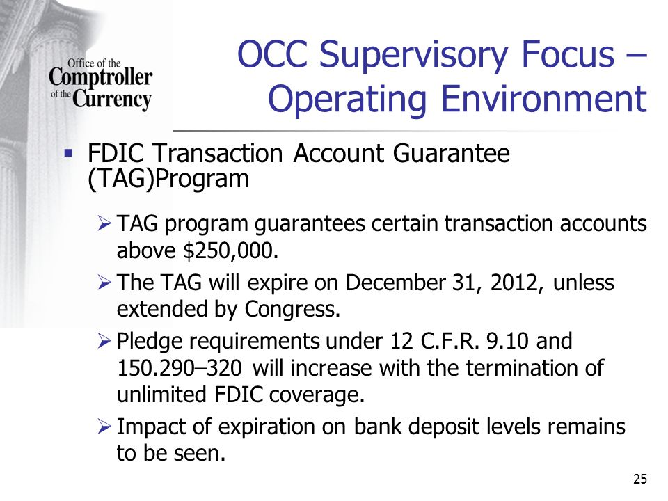 OCC Supervisory Focus – Operating Environment FDIC Transaction Account Guarantee (TAG)Program TAG program guarantees certain transaction accounts above $250,000.
