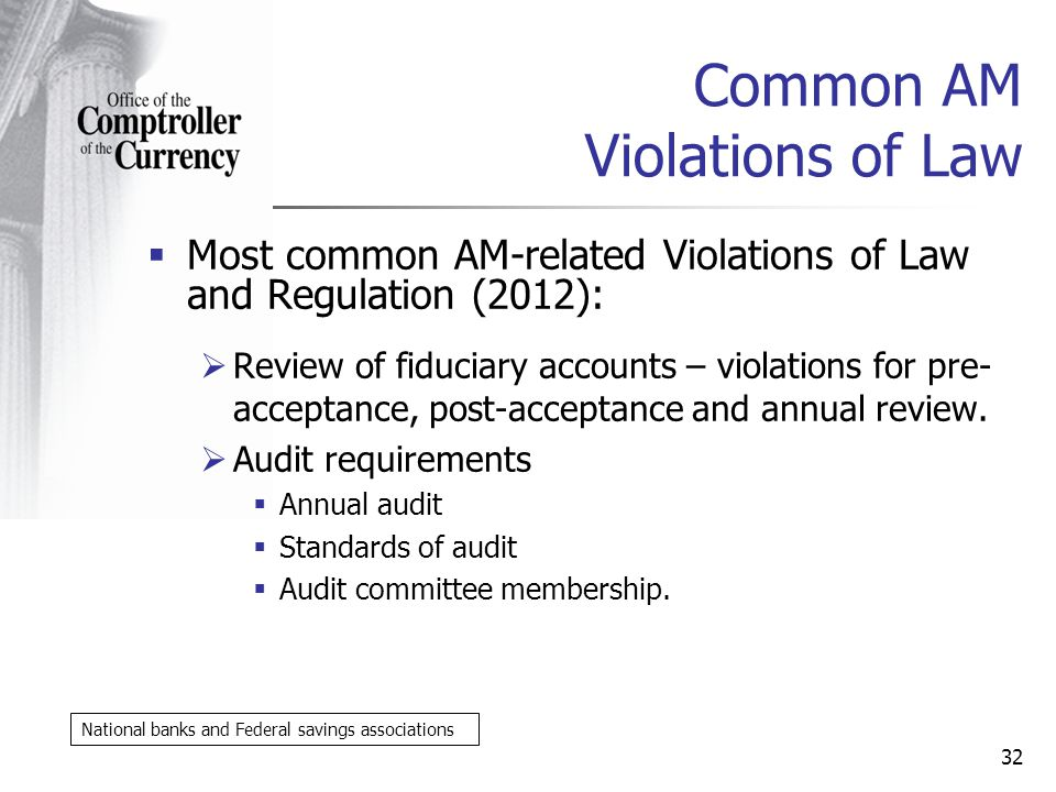 Common AM Violations of Law Most common AM-related Violations of Law and Regulation (2012): Review of fiduciary accounts – violations for pre- acceptance, post-acceptance and annual review.