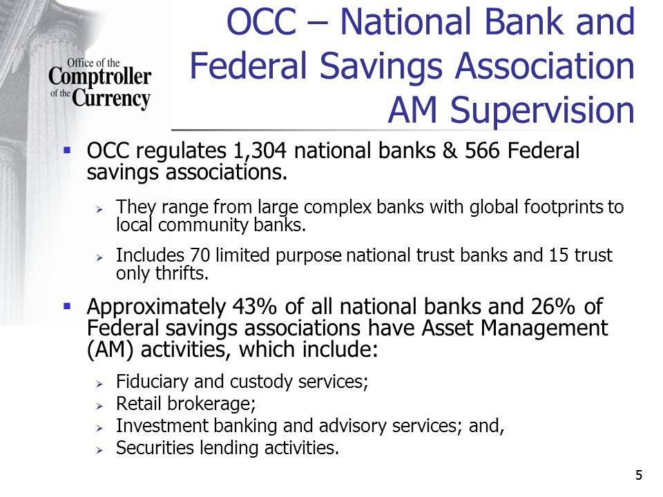 55 OCC regulates 1,304 national banks & 566 Federal savings associations.