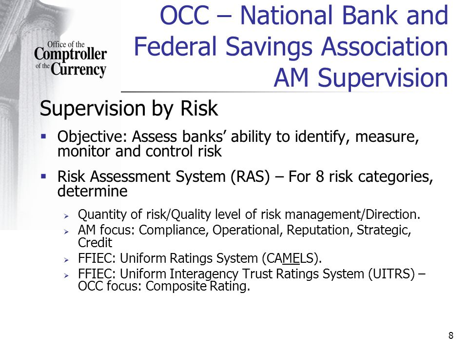 8 Supervision by Risk Objective: Assess banks ability to identify, measure, monitor and control risk Risk Assessment System (RAS) – For 8 risk categories, determine Quantity of risk/Quality level of risk management/Direction.