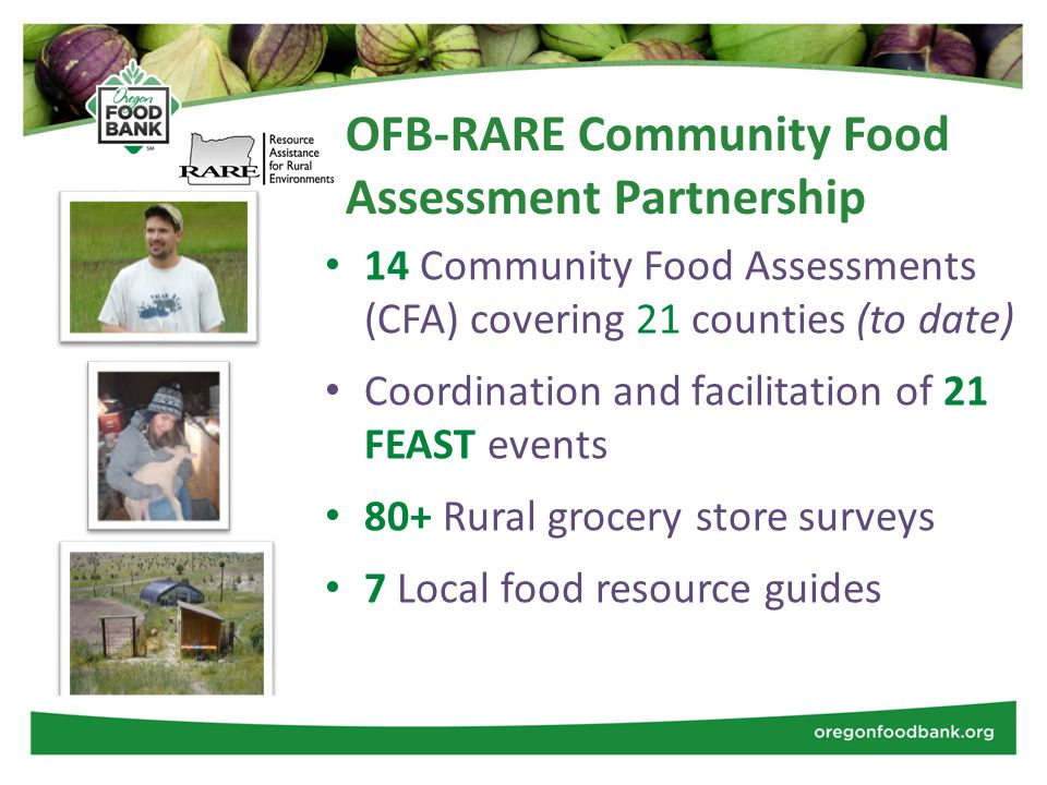 OFB-RARE Community Food Assessment Partnership 14 Community Food Assessments (CFA) covering 21 counties (to date) Coordination and facilitation of 21 FEAST events 80+ Rural grocery store surveys 7 Local food resource guides