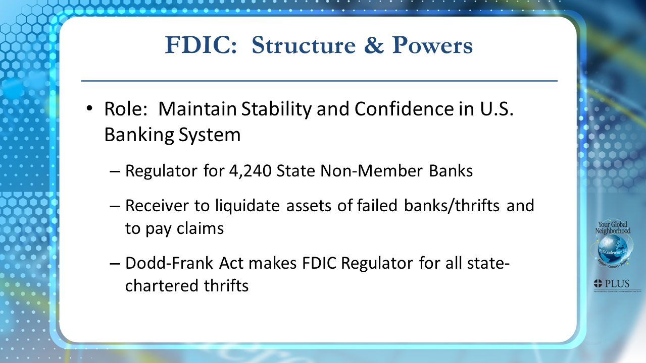 FDIC: Structure & Powers Role: Maintain Stability and Confidence in U.S.