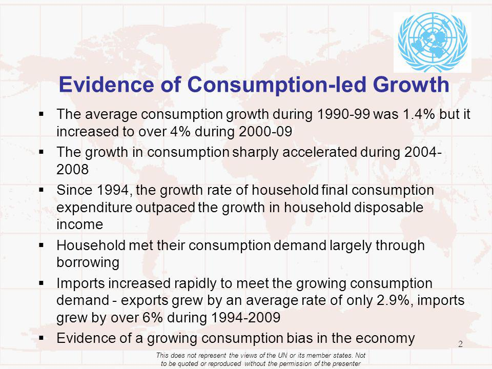 Evidence of Consumption-led Growth The average consumption growth during 1990-99 was 1.4% but it increased to over 4% during 2000-09 The growth in con