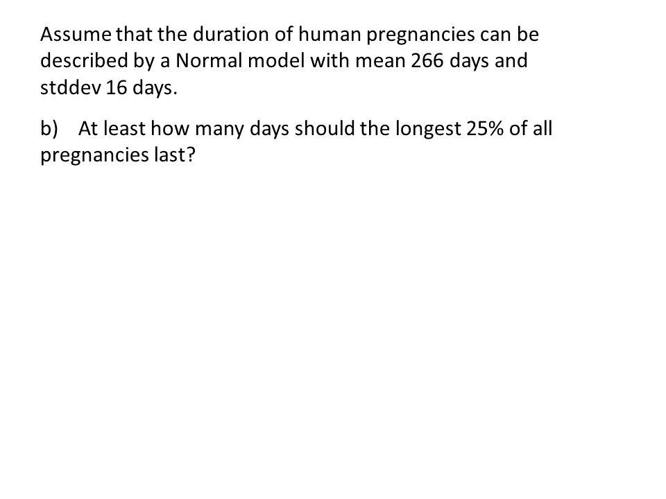Assume that the duration of human pregnancies can be described by a Normal model with mean 266 days and stddev 16 days.