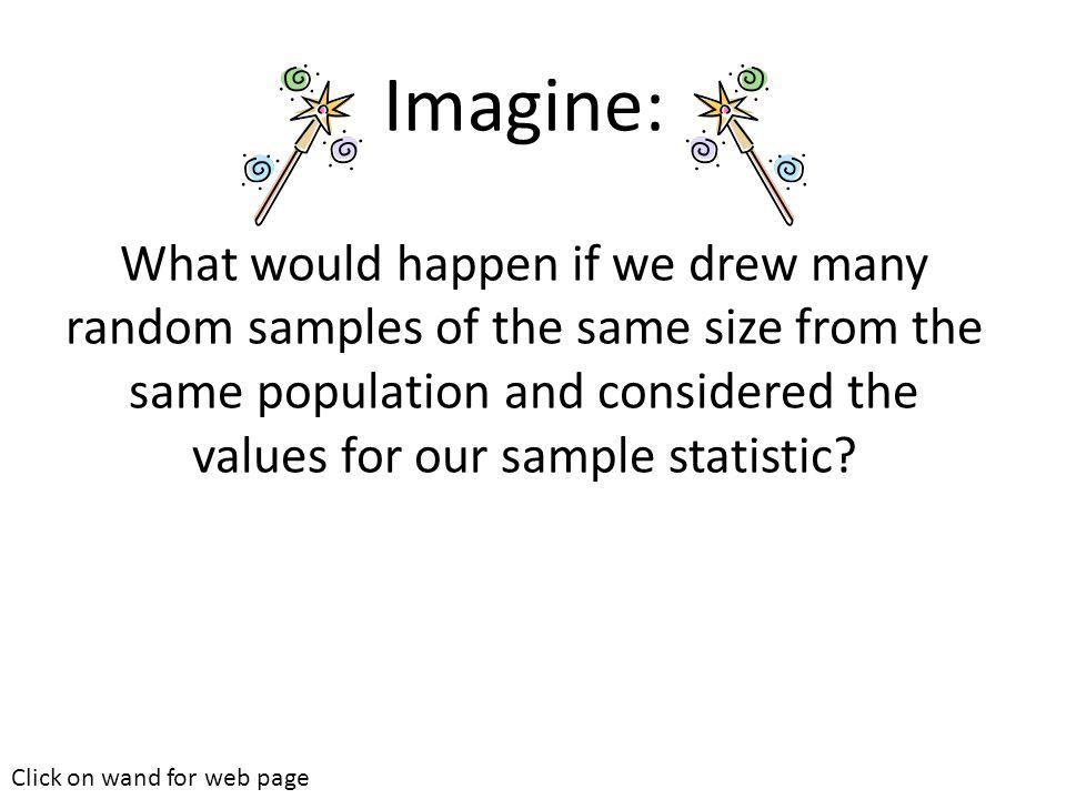 Imagine: What would happen if we drew many random samples of the same size from the same population and considered the values for our sample statistic.