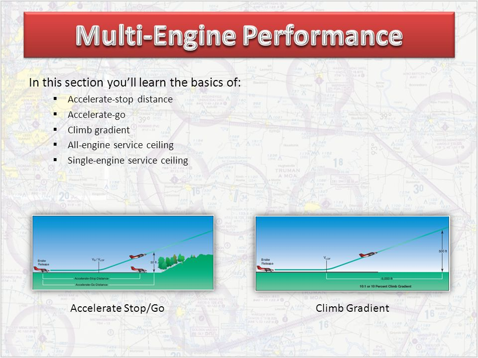 In this section youll learn the basics of: Accelerate-stop distance Accelerate-go Climb gradient All-engine service ceiling Single-engine service ceil