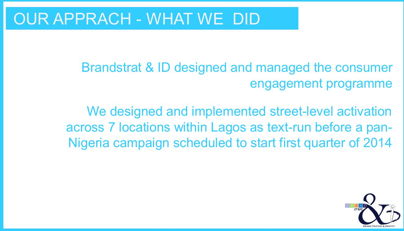 OUR APPRACH - WHAT WE DID Brandstrat & ID designed and managed the consumer engagement programme We designed and implemented street-level activation a