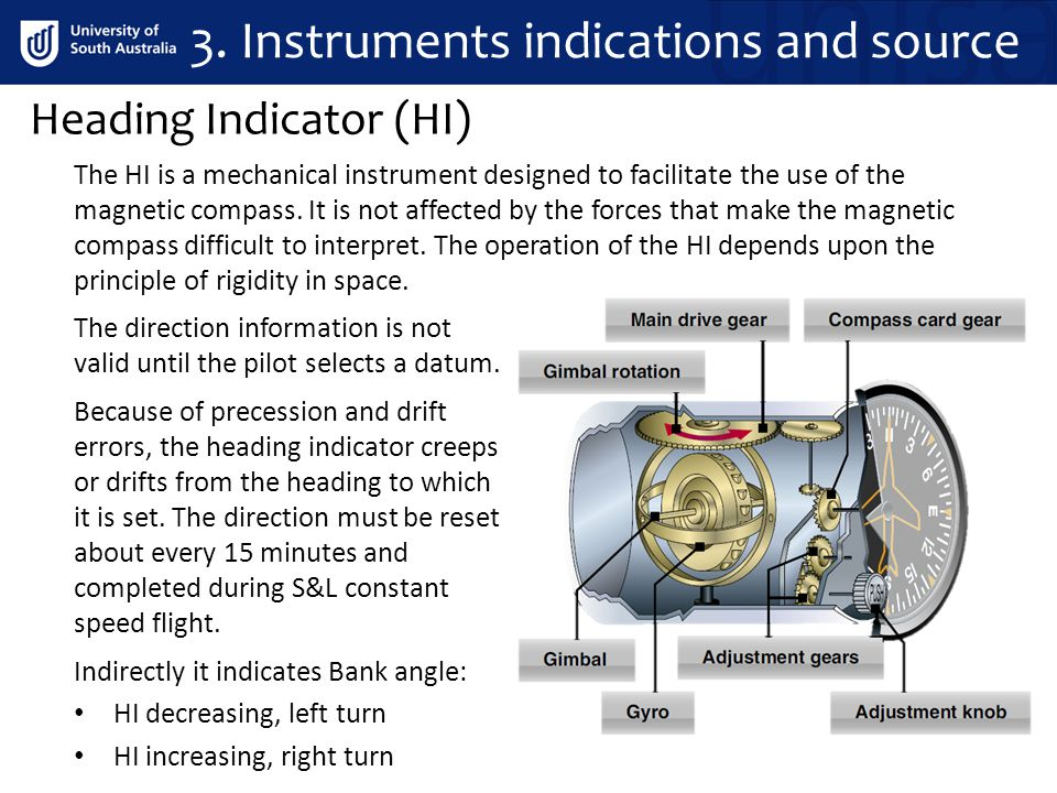 Heading Indicator (HI) 3. Instruments indications and source The direction information is not valid until the pilot selects a datum. Indirectly it ind