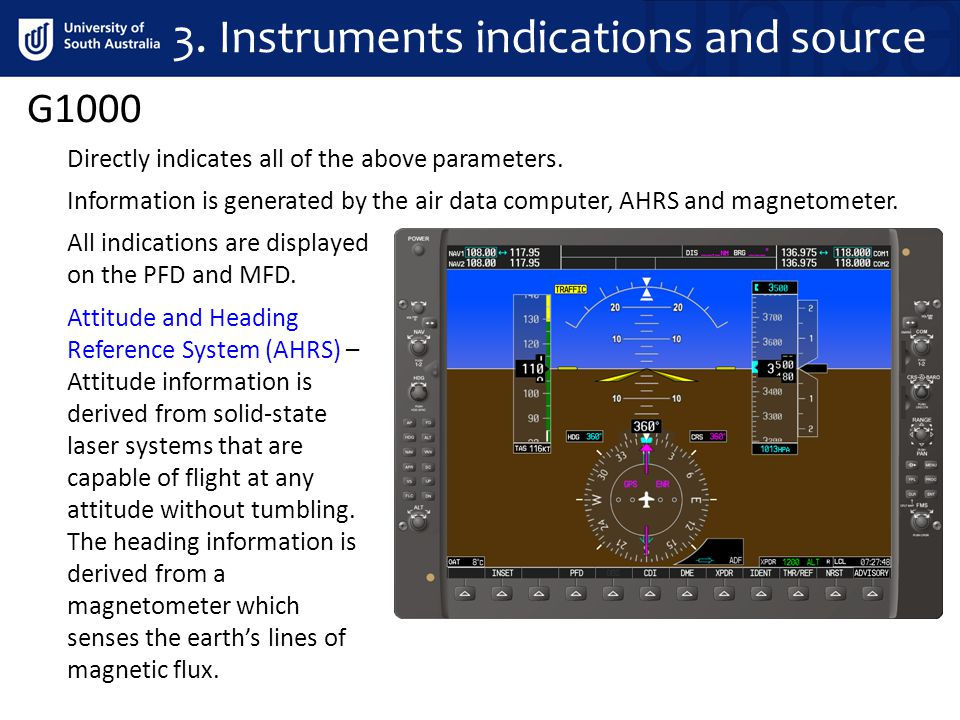 G1000 Information is generated by the air data computer, AHRS and magnetometer. Directly indicates all of the above parameters. All indications are di