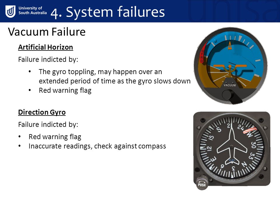 Vacuum Failure Artificial Horizon Failure indicted by: The gyro toppling, may happen over an extended period of time as the gyro slows down Red warning flag Direction Gyro Red warning flag Inaccurate readings, check against compass Failure indicted by: 4.
