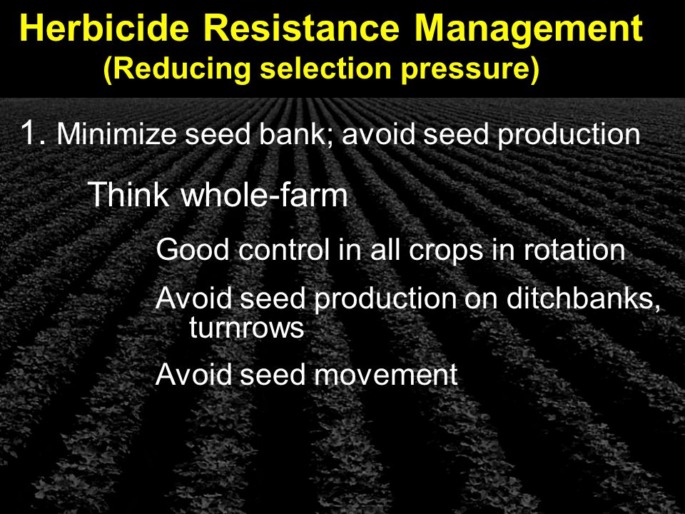 Herbicide Resistance Management (Reducing selection pressure) 1.