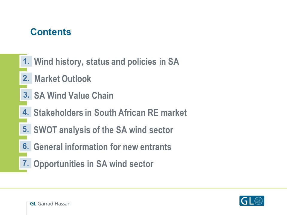 Contents Wind history, status and policies in SA 1.