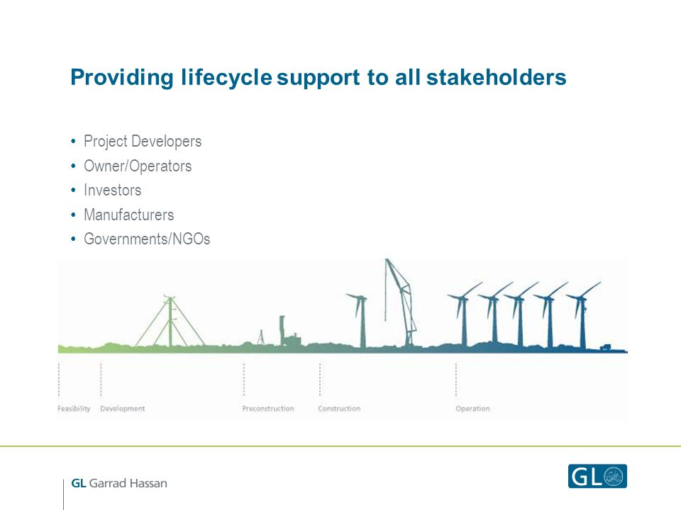 Providing lifecycle support to all stakeholders Project Developers Owner/Operators Investors Manufacturers Governments/NGOs