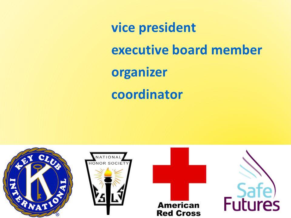 vice president executive board member organizer coordinator