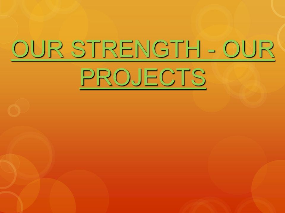 OUR STRENGTH - OUR PROJECTS