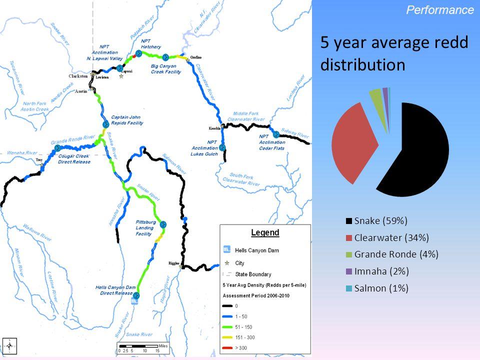 5 year average redd distribution Performance