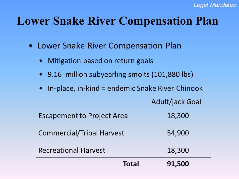 Lower Snake River Compensation Plan Mitigation based on return goals 9.16 million subyearling smolts (101,880 lbs) In-place, in-kind = endemic Snake R