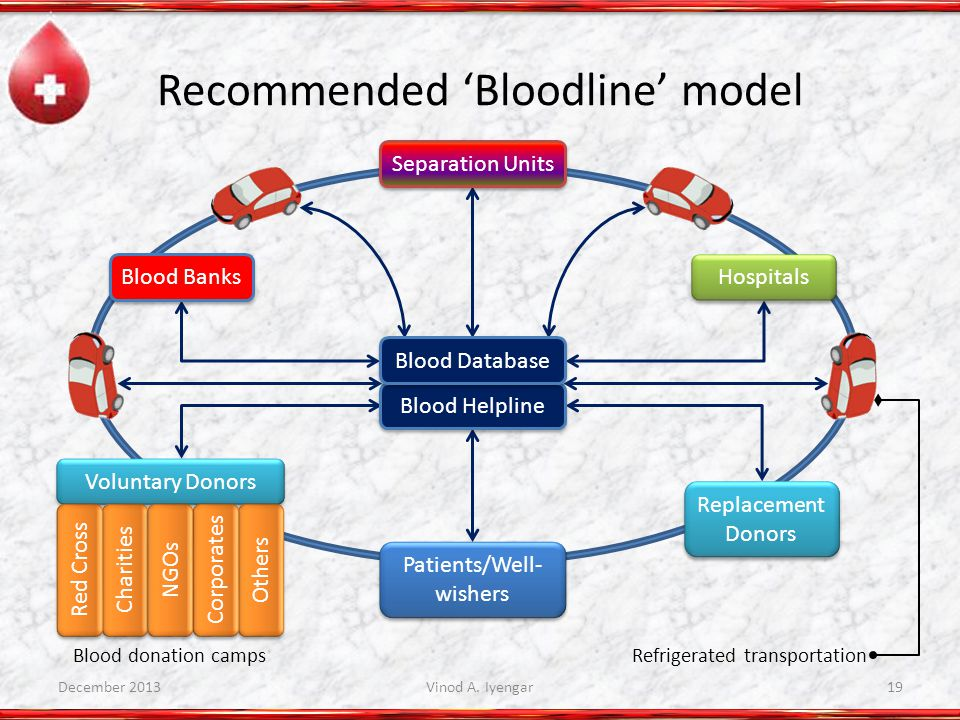 Recommended Bloodline model Blood Helpline Blood Database Blood Banks Hospitals Separation Units Replacement Donors Patients/Well- wishers Voluntary Donors Others Corporates Charities NGOs Red Cross Refrigerated transportationBlood donation camps December 2013Vinod A.