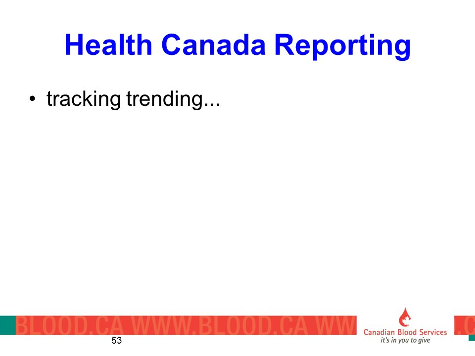 Health Canada Reporting tracking trending... 53
