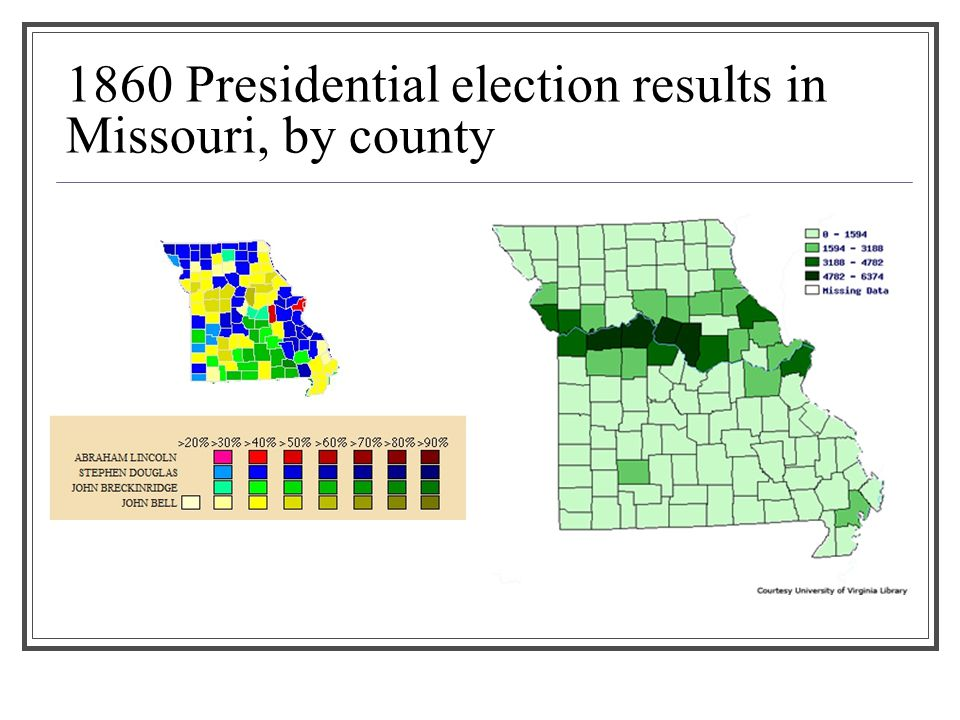 1860 Presidential election results in Missouri, by county