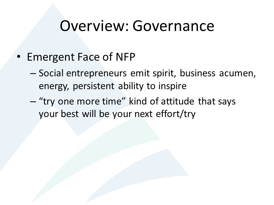Overview: Governance Emergent Face of NFP – Social entrepreneurs emit spirit, business acumen, energy, persistent ability to inspire – try one more time kind of attitude that says your best will be your next effort/try