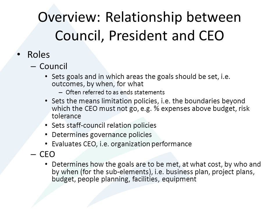 Overview: Relationship between Council, President and CEO Roles – Council Sets goals and in which areas the goals should be set, i.e.