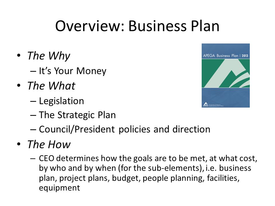 Overview: Business Plan The Why – Its Your Money The What – Legislation – The Strategic Plan – Council/President policies and direction The How – CEO determines how the goals are to be met, at what cost, by who and by when (for the sub-elements), i.e.