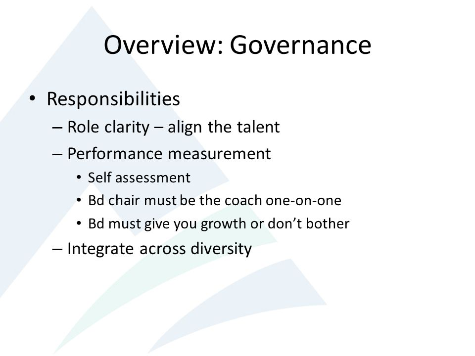 Overview: Governance Responsibilities – Role clarity – align the talent – Performance measurement Self assessment Bd chair must be the coach one-on-one Bd must give you growth or dont bother – Integrate across diversity
