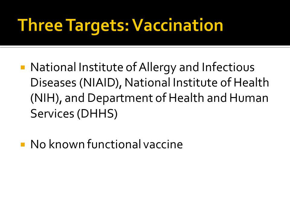 National Institute of Allergy and Infectious Diseases (NIAID), National Institute of Health (NIH), and Department of Health and Human Services (DHHS) No known functional vaccine