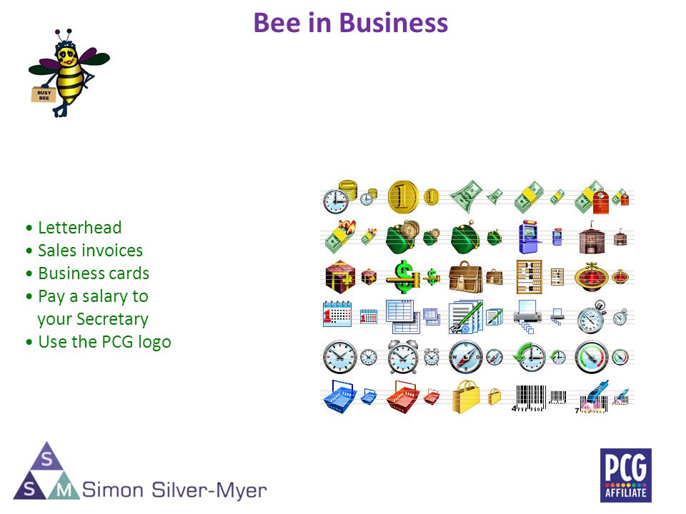 Letterhead Sales invoices Business cards Pay a salary to your Secretary Use the PCG logo Bee in Business 11