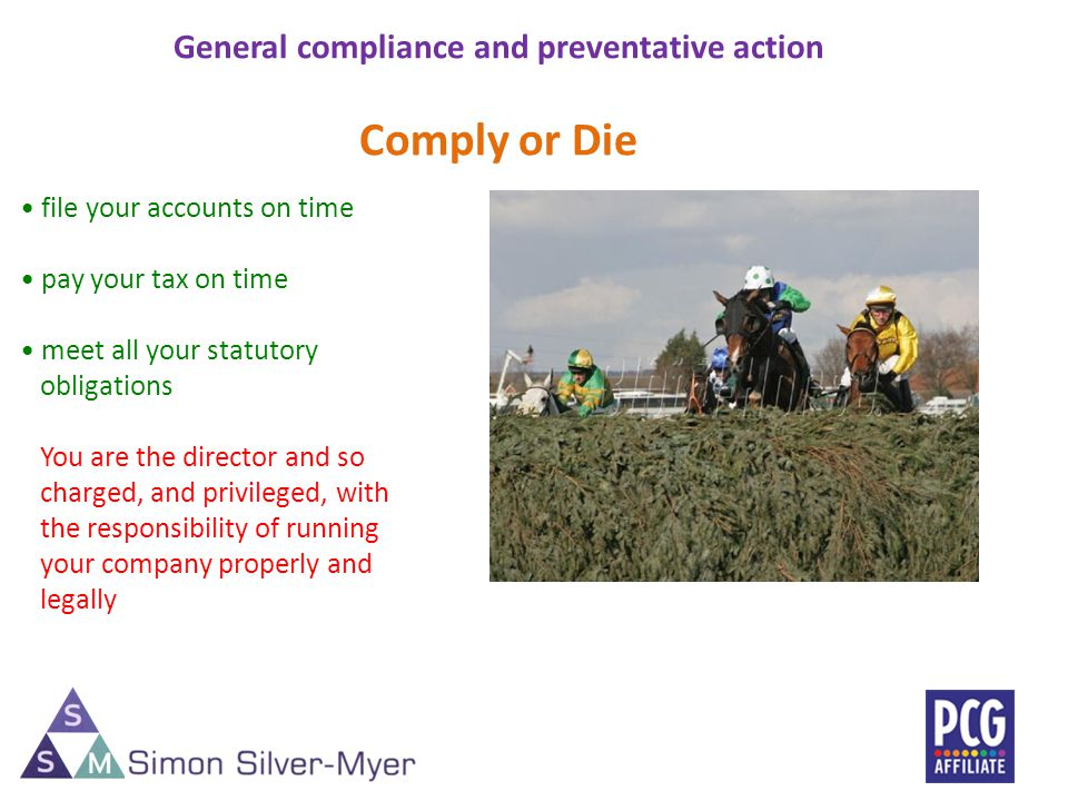 General compliance and preventative action Comply or Die file your accounts on time pay your tax on time meet all your statutory obligations You are the director and so charged, and privileged, with the responsibility of running your company properly and legally 5