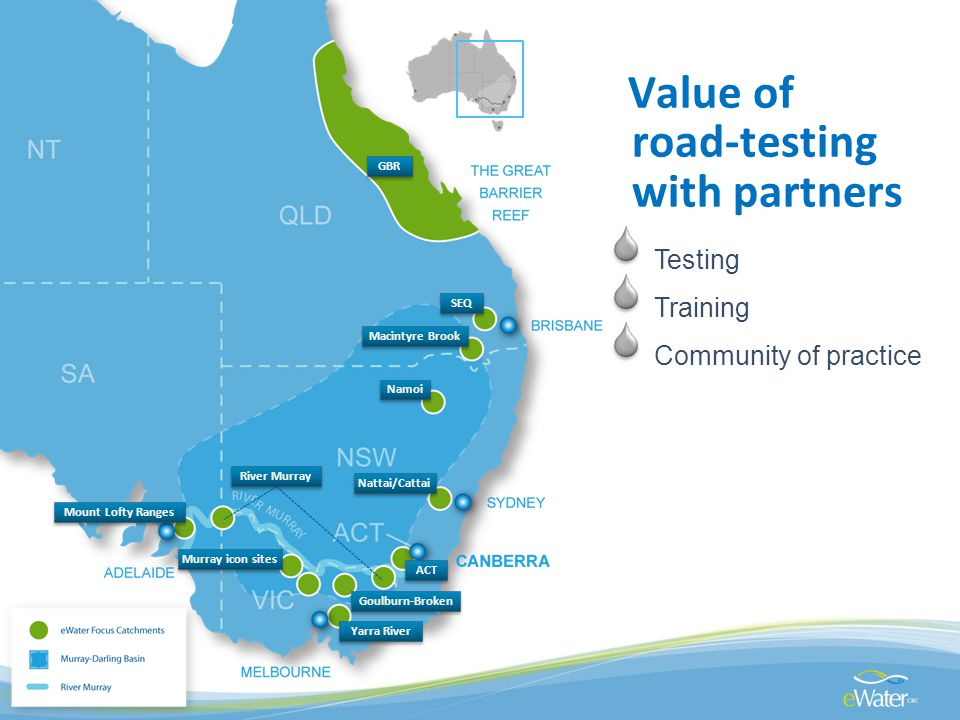Value of road-testing with partners Testing Training Community of practice SEQ Nattai/Cattai Goulburn-Broken GBR ACT Yarra River Murray icon sites Mount Lofty Ranges River Murray Namoi Macintyre Brook